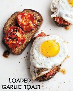 Charred Tomatoes with Fried Eggs on Garlic Toast Recipe | Martha ...