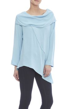 Long sleeve, light blue top with a wide, foldover neckline, and stitched lines throughout the body.   Clown Top by Jules of Morocco. Clothing - Tops - Long Sleeve Portland, Oregon