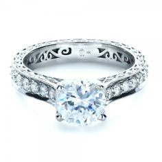 Custom Diamond and Filigree Engagement Ring - 1290 | Joseph Jewelry Seattle Bellevue