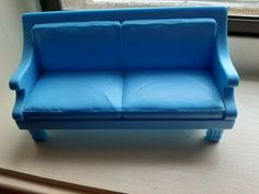 Fisher Price Loving Family Dollhouse Furniture Living Room Blue Sofa Couch #FisherPrice