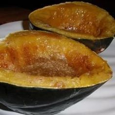 Acorn squash is microwaved until tender, and then broiled for crispness - brown sugar optional