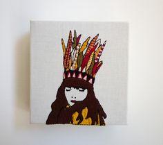 Modern Embroidery: 'Isla' 4x4inch Stitch Art. $60.00, via Etsy.