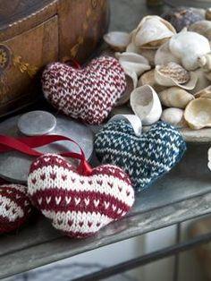 fairisle knitted hearts