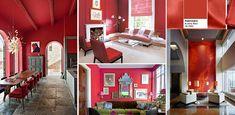Raccolta di abitazioni con pareti rosse. Pantone, Aurora, Bubbles, Loft, Bed, Furniture, Home Decor, Home Decor Ideas, Homes