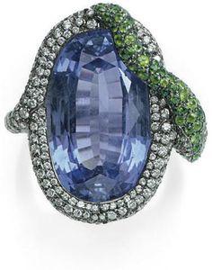 Sapphire, Diamond, and Tsavorite Garnet Ring Michele Della Valle  Christie's