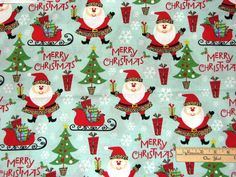 Merry Christmas Santa with Leopard Skin Hat Christmas Fabric  by the 1/2 Yard #BrotherSisterDesigns