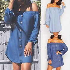Trendy Women Shirring Off Shoulder Casual Denim Dress