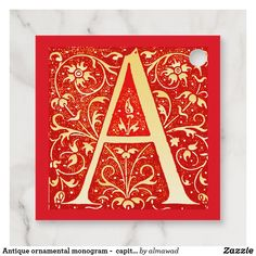 Antique ornamental monogram -  capital A Favor Tags