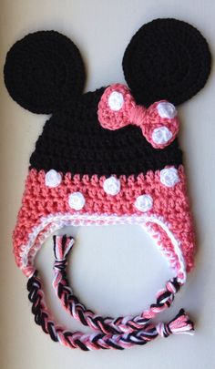 Minnie Mouse Crocheted Hat by LittleBabyBoyCrafts on Etsy