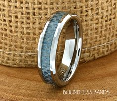 Blue Carbon Fiber Tungsten Wedding Ring Two Tone 6mm Mens Wedding Band Custom Laser Engraving Ring Men's Anniversary Engagement Comfort Fit by BoundlessBands on Etsy https://www.etsy.com/listing/226700775/blue-carbon-fiber-tungsten-wedding-ring