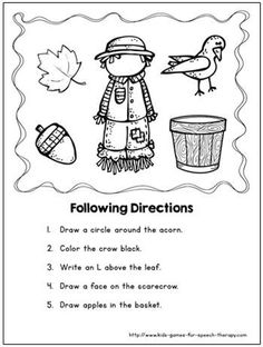 You'll love these Fall/Autumn language worksheets & cute scarecrow craft!