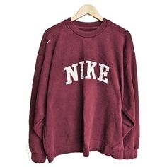 Burgundy 'Nike' Jumper ❤ liked on Polyvore featuring tops, sweaters, jumpers and sweatshirts