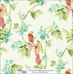 Bridgeport Flower Leaf Parrot Wallpaper [HUN-37912] : Designer Wallcoverings™