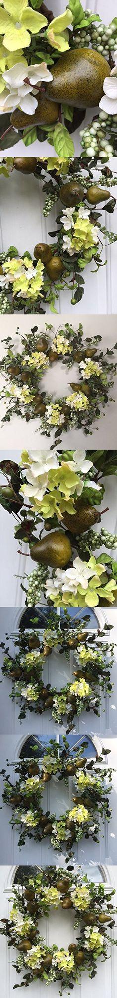 Sir Bartlett Silk Door Wreath 22 Inches Handmade With Artificial Green Pears And Hydrangeas Display