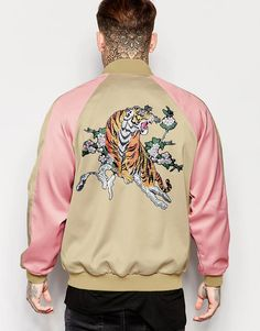 Image 1 of Jaded London Souvenir Bomber Jacket With Tiger Back Print