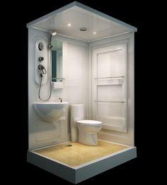 Sunzoom Bad duschkabinen, Badezimmer Dusche Einheiten, komplette dusche kits Cabin Bathrooms, Tiny House Bathroom, Small Bathroom, Mini Bad, Tiny Bath, Airstream Renovation, Shower Cabin, Tiny Cabins, Diy Shower
