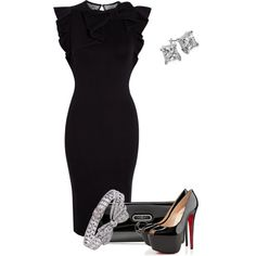 My sister has to attend a black tie event by pollydickson on Polyvore featuring RED Valentino, Christian Louboutin, Blue Nile, women's clothing, women's fashion, women, female, woman, misses and juniors