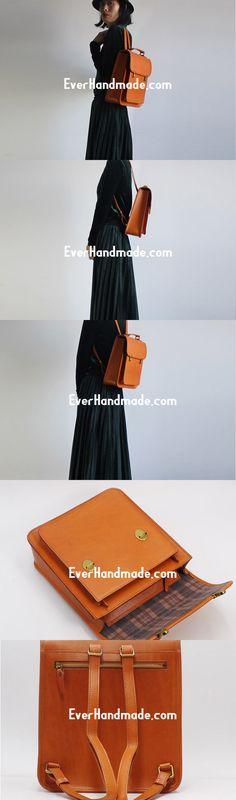 Handmade Leather Backpack Bag Purse Satchel Bag Shoulder Bag for Girl Women Lady