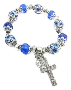 The Olivia Collection Small White Wooden Religious Icons Bracelet