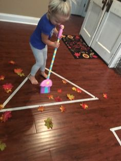 Let kids have their own broom and turn it into a game Motor Skills Activities, Toddler Learning Activities, Indoor Activities For Kids, Montessori Activities, Gross Motor Skills, Autumn Activities, Infant Activities, Physical Activities, Kids Learning