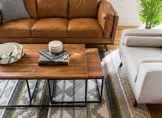 Rich, supple leathers and warm, textured wood = the new essentials. Small Room Design, Family Room Design, Family Rooms, Condo Living, Apartment Living, Living Room Sets, Home Living Room, Sofa Design, Interior Design