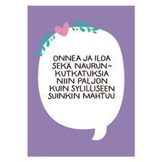 Onnea ja naurunkutkatuksia (violetti) postikortti