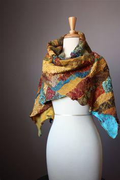 Nuno Felted scarf   shawl Wool Silk Rust   by VitalTemptation,  200.00  Precioso, Bufandas 351455f4f2