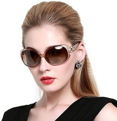 568dec8cf52 DUCO Shades Classic Oversized Polarized Sunglasses for Women UV Protection  1220 Champagne Frame Brown Lens