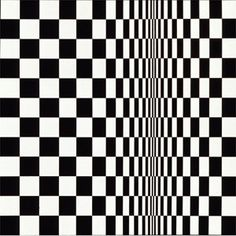 Op Art -- a form of abstract art that uses patterns, lines, and color, to create optical illusions. The dramatic designs of Op art were readily made into fabric and incorporated into clothing designs in the (Bridget Riley - Movement in Squares, Optical Illusion Quilts, Art Optical, Optical Illusions, Victor Vasarely, Bridget Riley Art, Moda Pop Art, Art Pop, Op Art Lessons, Pop Art Fashion