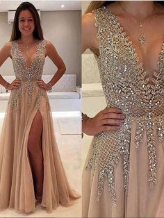 Sexy A Line V Neck Rhinestone Prom Dress with Slit, V Neck Graduation Dress #vneck #champagne #promdress #vneckdress #backlessdress #promdress2018