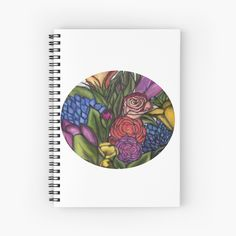 'Flower Bouquets ' Spiral Notebook by Laurajart Buy Flowers, Bright Flowers, Notebook Design, Flower Bouquets, Free Stickers, Sticker Paper, Large Prints, Spiral, My Arts
