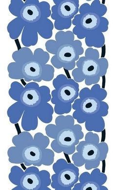 Unikko fabric by Maija Islola. Produced by Marimekko. Fabric designed by Maija Isola in 1964 to teach Armi Ratia, the founder of Marimekko, a lesson after she had announced in public that no floral fabrics would be produced by Marimekko. Motifs Textiles, Textile Patterns, Textile Design, Fabric Design, Pattern Design, Floral Patterns, Art Patterns, Marimekko Fabric, Marimekko Wallpaper