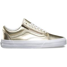 Vans Metallic Leather Old Skool Zip ($75) ❤ liked on Polyvore featuring shoes, sneakers, gold, metallic sneakers, leather low top sneakers, leather lace up sneakers, lacing sneakers and zipper sneakers