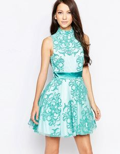 Ashley+Roberts+for+Key+Collections+Aquarius+High+Neck+Skater+Dress