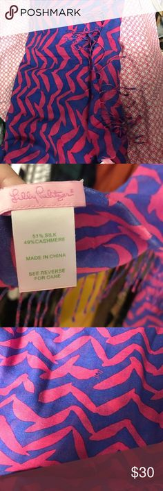Lilly Pulitzer scarf Worn once for derby. About 60 inches, wrap around very thin scarf Lilly Pulitzer Accessories Scarves & Wraps