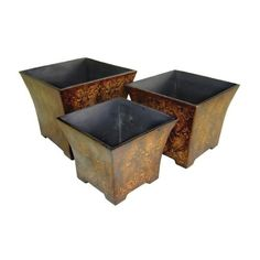 Cheungs Indoor Outdoor Patio Gardening Decorative Set of 3 Wooden Planter with Fleur De Lis Print * Click image to review more details.