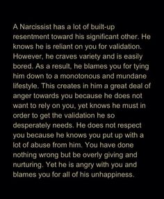 Narcissist -Whoa, does this this define the reality of the suituation!!
