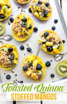 These Toasted Quinoa-Stuffed Mangos are filled with fresh fruit, lots of protein, and wonderful flavors from cacao nibs and creamy quinoa! Vegan Appetizers, Vegan Dinner Recipes, Vegan Breakfast Recipes, Vegan Snacks, Vegan Dinners, Vegan Desserts, Brunch Recipes, Vegan Sweets, Breakfast Dishes