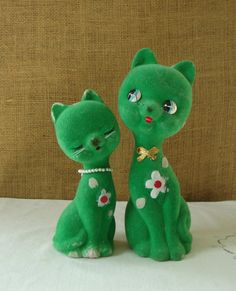2 1960s VINTAGE Green Cats Pair Boy & Girl by Poppycbrilliant, $20.00