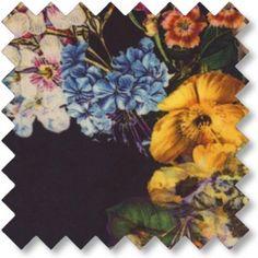 bomuldssatin m/blomster Mørk marineblå