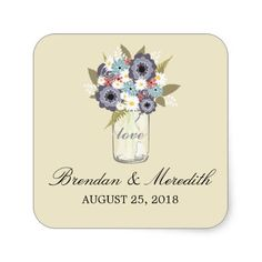 Vintage Garden Mason Jar | Wedding Stickers