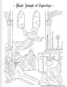 Saint Joseph of Cupertino Catholic coloring page #1: Feast day is September 18th