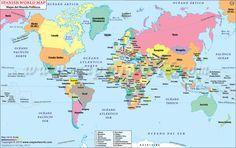 World Map in Spanish