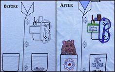 "TEACHERS - Check out the ""Science Tuxedo"" a.k.a.Mock Lab Coat project.  Available (bulk discount and free shipping) Tee or apron.  The design is not on the website yet, but you can still order it at 800-960-9393.  Decorate with fabric markers. Optional -add extra images with clip art.  ScienceWear.net -combining the mind of a scientist with that of an artist"