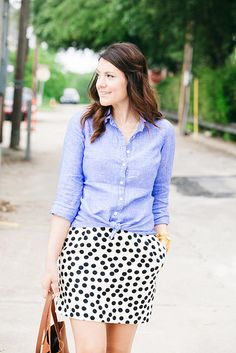 Chambray + Black White Polka Dot Gold Camel Brown Outfit