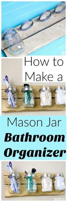 How to Make a Mason Jar Bathroom Organizer and other Back to school organization tips #DesignedMega #ad via @amodernmomlife