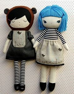 So cute! I especially love her hair method (on the blue haired one) dolls from a.little.sprout - http://www.etsy.com/shop/alittlesprout