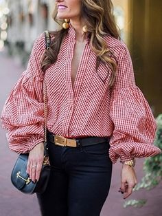 Ericdress Office Lady Standard Long Sleeve Blouse We Offer Top Good Quality Cheap Clothes For Women And Men Clothing Wholesaler, Get Affordable Clothing At Worldwide. Bell Sleeve Blouse, Collar Blouse, Blouse Styles, Blouse Designs, Moda Xl, Corsage, Casual Outfits, Fashion Outfits, Emo Fashion