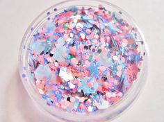 Matte Pink and Blue Solvent Resistant Glitter Mix  - Fairytale - 5 Gram Nail Polish Glitter Mix for Nail Polish Frankening Scrapbooking