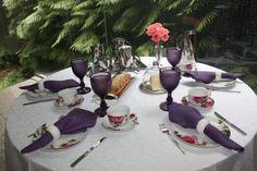 mesa decorada em roxo jantar - Pesquisa Google